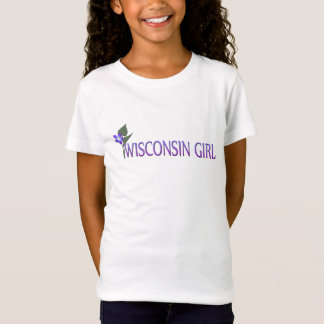 Wisconsin Girl Wood Violet Kids t-shirt Wht