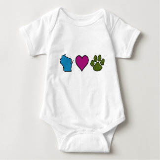 Wisconsin Hearts Animals Baby Bodysuit
