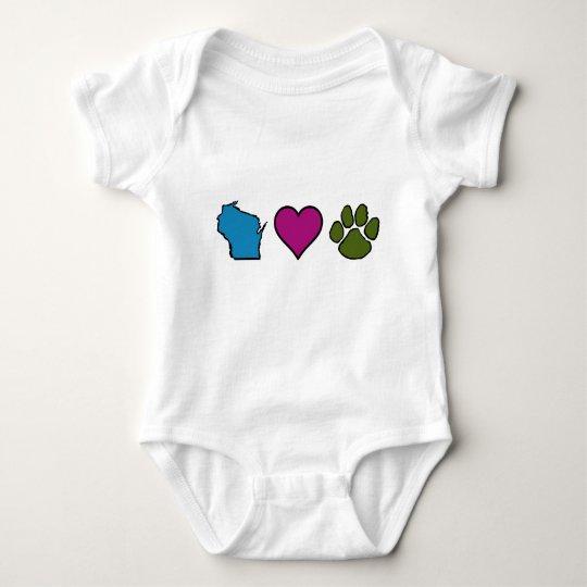 Wisconsin Hearts Animals Baby Bodysuit