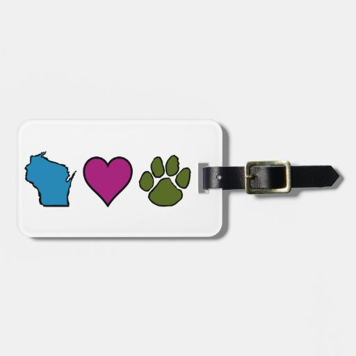 Wisconsin Hearts Animals Bag Tags