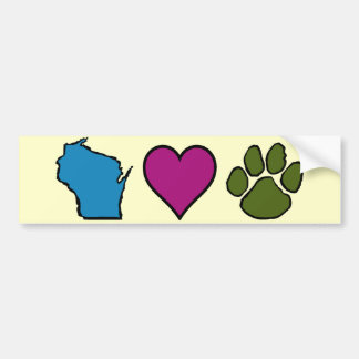 Wisconsin Hearts Animals Bumper Sticker