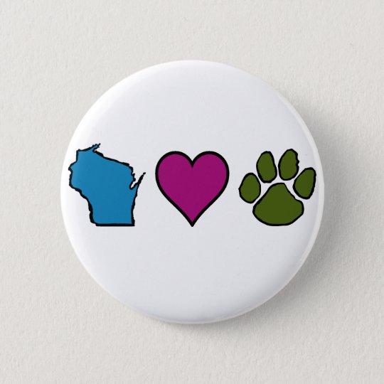 Wisconsin Hearts Animals Button