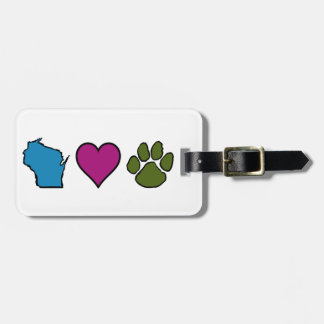Wisconsin Hearts Animals Luggage Tag