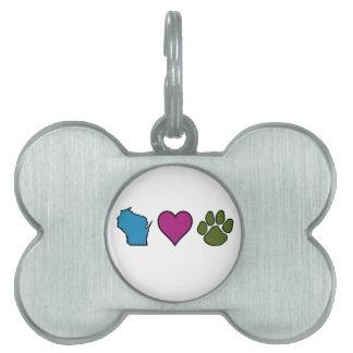 Wisconsin Hearts Animals Pet ID Tag