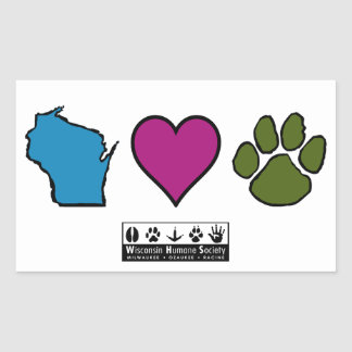 Wisconsin Hearts Animals Rectangular Sticker