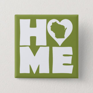 Wisconsin Home Heart State Button Badge Pin
