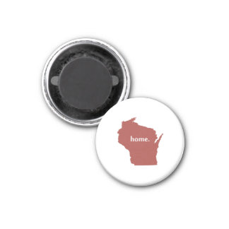 Wisconsin home silhouette state map 1 inch round magnet