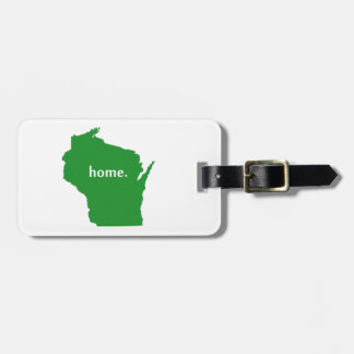 Wisconsin home silhouette state map tag for luggage