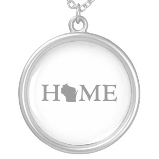 Wisconsin Home State Silver Plated Necklace