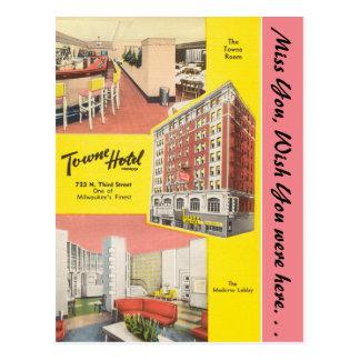 Wisconsin, hotel de Towne, Milwaukee Tarjeta Postal