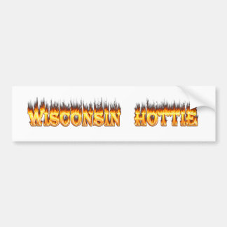 Wisconsin hottie fire and flames bumper stickers
