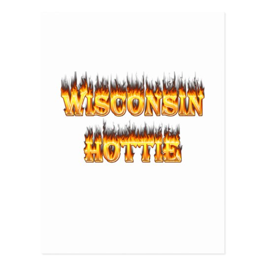 Wisconsin hottie fire and flames postcard