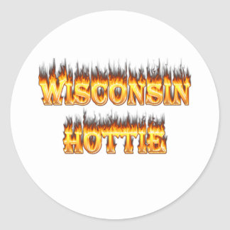 Wisconsin hottie fire and flames stickers