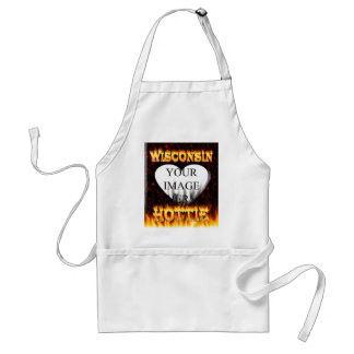 Wisconsin Hottie fire and red marble heart. Adult Apron