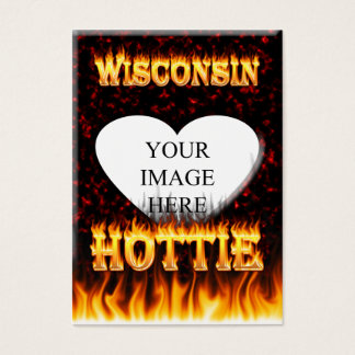 Wisconsin Hottie fire and red marble heart. Business Card