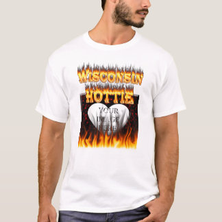 Wisconsin Hottie fire and red marble heart. T-Shirt
