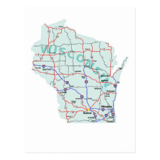 Wisconsin Interstate Map Postcard