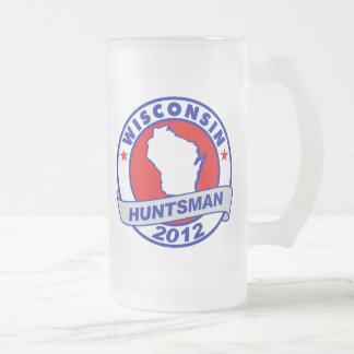 Wisconsin Jon Huntsman 16 Oz Frosted Glass Beer Mug