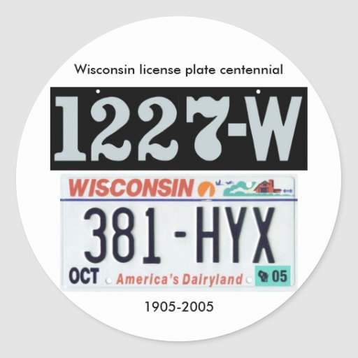 Wisconsin License Plate Centennial Classic Round Sticker