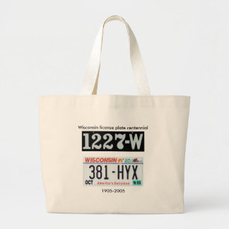 Wisconsin License Plate Centennial Large Tote Bag