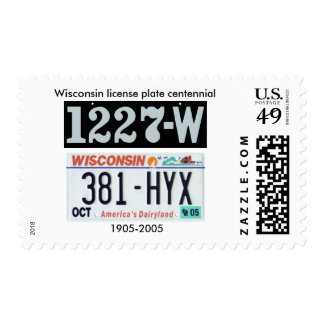 Wisconsin License Plate Centennial Postage