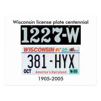 Wisconsin License Plate Centennial Postcard