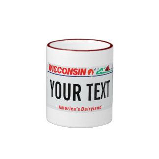 Wisconsin license plate mug