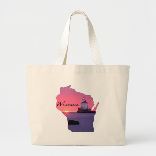 Wisconsin Lighthouse Large Tote Bag