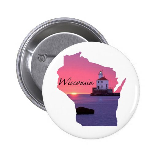 Wisconsin Lighthouse Pinback Button