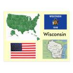 Wisconsin, los E.E.U.U. Postales