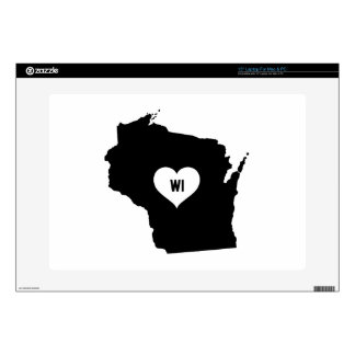 """Wisconsin Love Decal For 15"""" Laptop"""