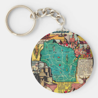 Wisconsin Map and Facts Basic Round Button Keychain