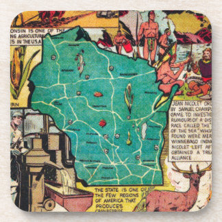 Wisconsin Map and Facts Beverage Coaster