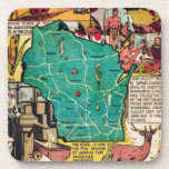 Wisconsin Map and Facts Drink Coaster