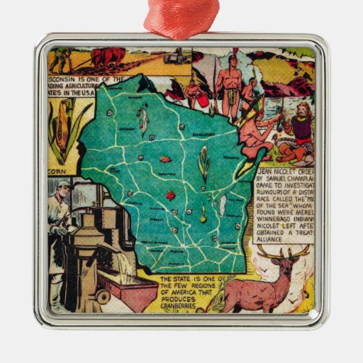Wisconsin Map and Facts Metal Ornament