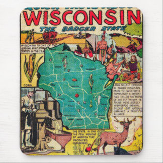 Wisconsin Map and Facts Mouse Pad