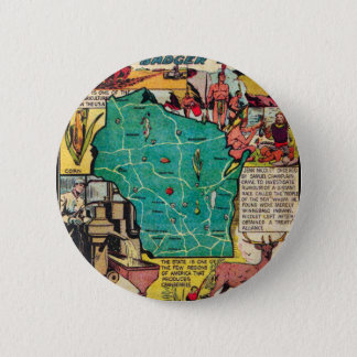Wisconsin Map and Facts Pinback Button