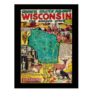 Wisconsin Map and Facts Postcard