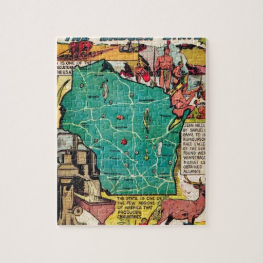 Wisconsin Map and Facts Puzzles