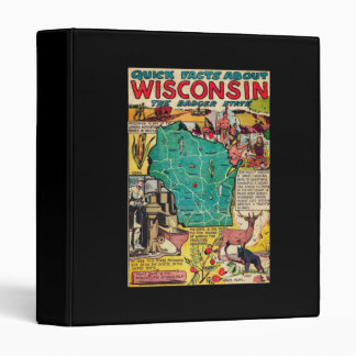 Wisconsin Map and Facts Vinyl Binder