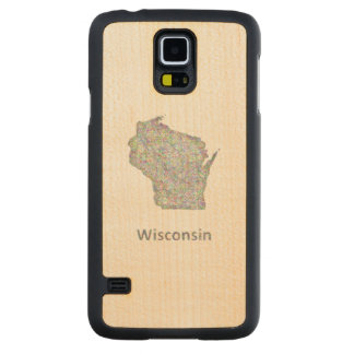 Wisconsin map carved® maple galaxy s5 slim case