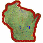 "Wisconsin Map Christmas Ornament Cut Out<br><div class=""desc"">This acrylic ornament shaped from a relief map of Wisconsin surrounded by festive trim will add novel Wisconsin flair to your seasonal decorations. Also available as a pin,  magnet or keychain. 