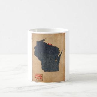 Wisconsin Map Denim Jeans Style Coffee Mug