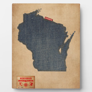 Wisconsin Map Denim Jeans Style Display Plaques