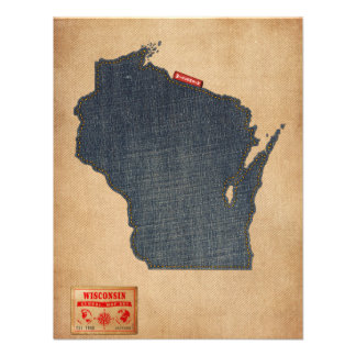 Wisconsin Map Denim Jeans Style Personalised Invitation