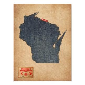 Wisconsin Map Denim Jeans Style Photo Art