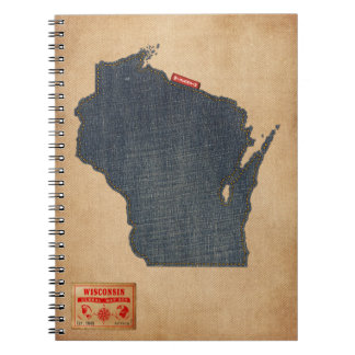 Wisconsin Map Denim Jeans Style Spiral Notebook