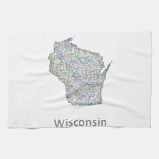 Wisconsin map hand towels