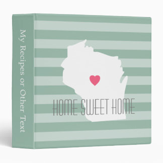 Wisconsin Map Home State Love with Custom Heart Binder