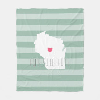 Wisconsin Map Home State Love with Custom Heart Fleece Blanket